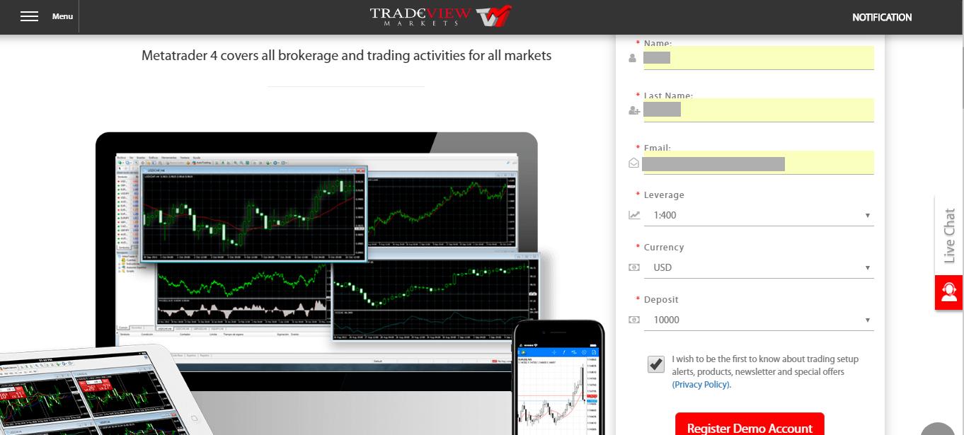 Cách   mở tài khoản demo Tradeview